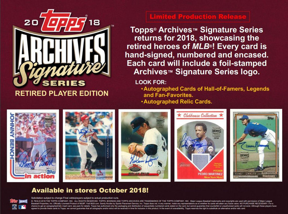 "2018 Topps Archives Signature Series ""Retired Player Edition"" Baseball Hobby Box"