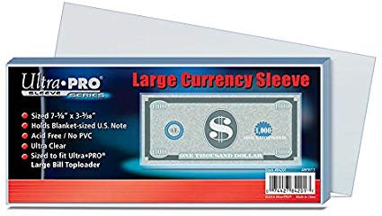 Ultra Pro Sleeve Series Large Currency Sleeves Sized 7-5/8 x 3-3/38 - BigBoi Cards