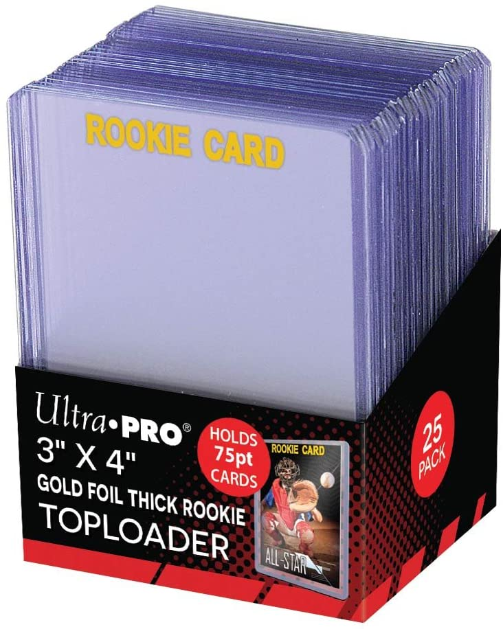 "Ultra Pro 3"" X 4"" Gold Foil Thick Rookie 75pt Toploader - BigBoi Cards"