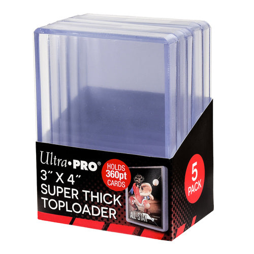 "Ultra Pro Super Thick Toploaders 360pt. 3""x 4"" (Lot of 5) - BigBoi Cards"