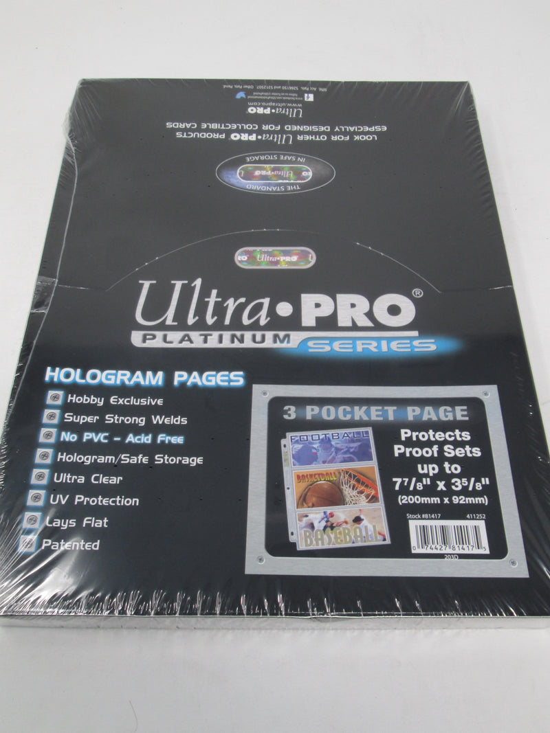 "Ultra Pro 3-Pocket Platinum Page with 7-7/8"" X 3-5/8"" Pockets - BigBoi Cards"