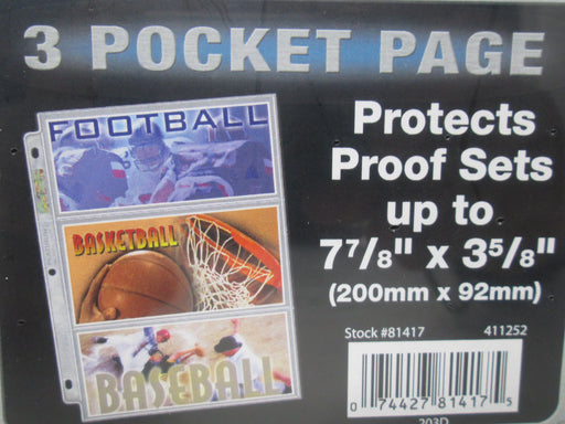 "Ultra Pro 3-Pocket Platinum Page with 7-7/8"" X 3-5/8"" Pockets"