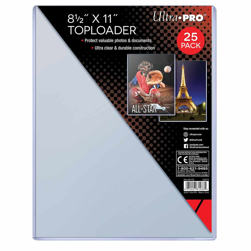 "Ultra Pro 8-1/2"" X 11"" Toploader (25 count pack) - BigBoi Cards"