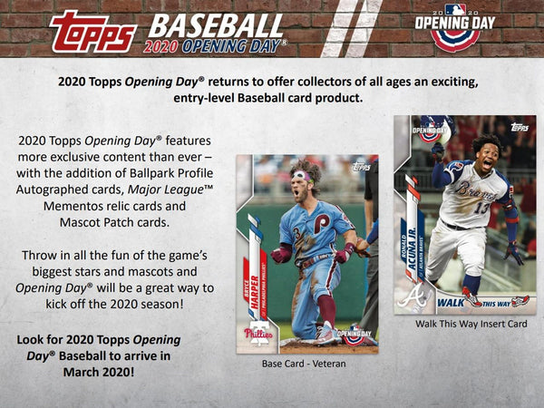 2020 Topps Opening Day MLB Baseball Hobby Sealed Box - BigBoi Cards