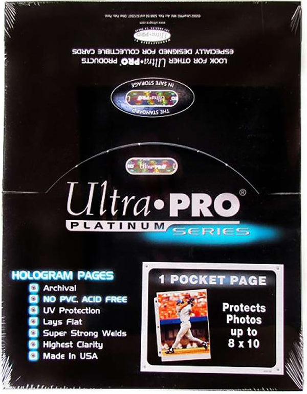 "Ultra Pro 1-Pocket Page 8""x10"" Platinum Pages - BigBoi Cards"