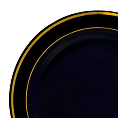 "10.25"" Black with Gold Edge Rim Plastic Dinner Plates"
