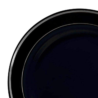 "10.25"" Black with Silver Edge Rim Plastic Dinner Plates"