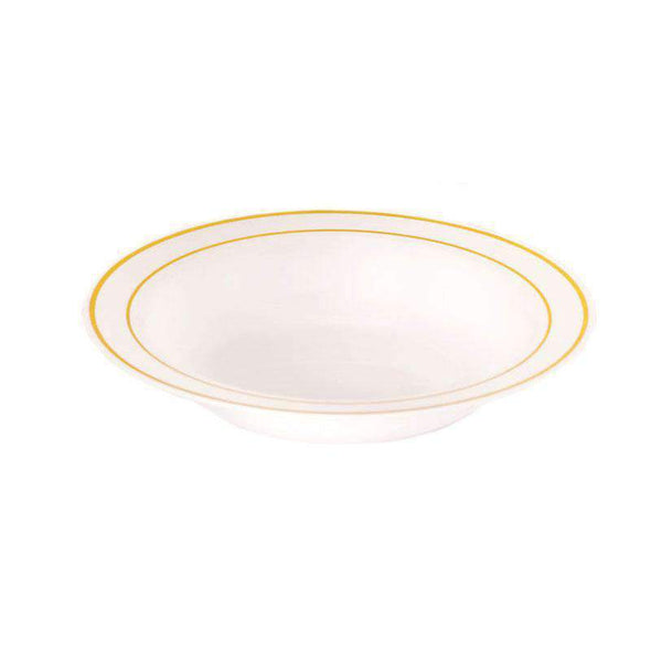 White with Gold Edge Rim Disposable Plastic Wedding Soup Bowls