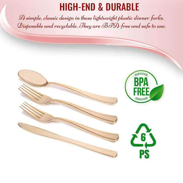 Gold Classic Cutlery Disposable Plastic Wedding Silverware Set 60 Forks, 60 Knives and 60 Spoons