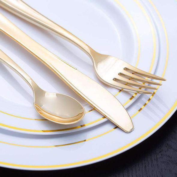 "10.25"" White with Gold Edge Rim Plastic Dinner Plates"