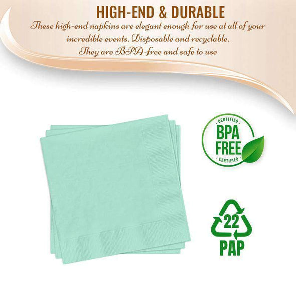Fresh Mint Green Paper Cocktail Napkins