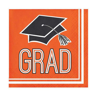 School Spirit Orange Disposable Paper Beverage Napkins