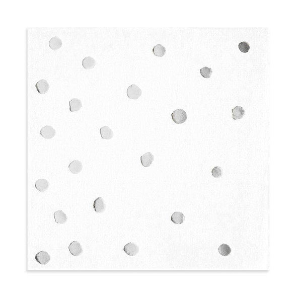 White With Silver Stamped Foil Dots Paper Beverage Napkins