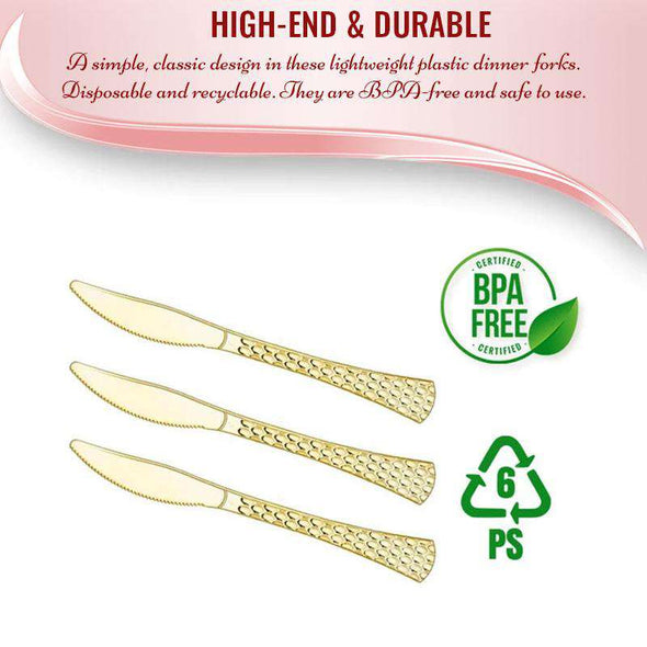 Shiny Gold Glamour Cutlery Disposable Plastic Knives