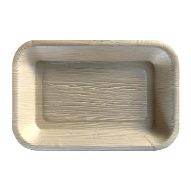 "6"" x 4"" Rectangular Natural Palm Leaf Eco-Friendly Disposable Trays"