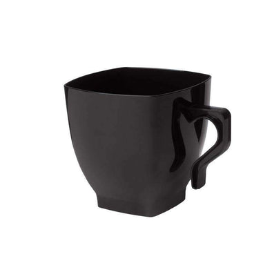 Black Square Disposable Plastic Wedding Coffee Mugs