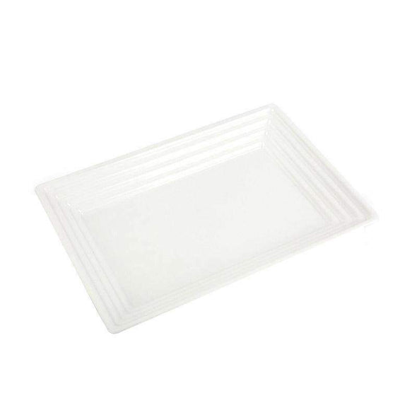 "11"" x 16"" White Rectangular with Groove Rim Plastic Serving Trays"