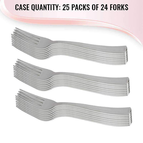 Shiny Disposable Metallic Silver Wedding Plastic Forks