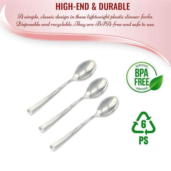 Disposable Shiny Metallic Silver Plastic Mini Wedding Dessert Spoons