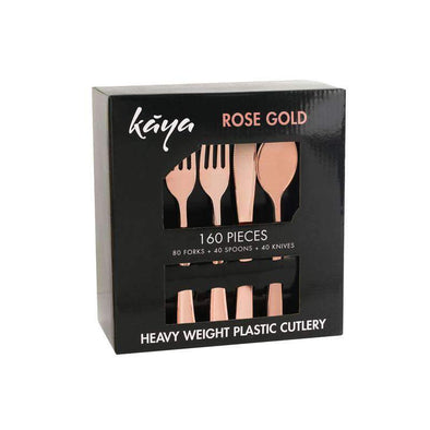 160 PCS Classic Rose Gold Cutlery Plastic Silverware Set 80 Forks, 40 Knives and 40 Spoons