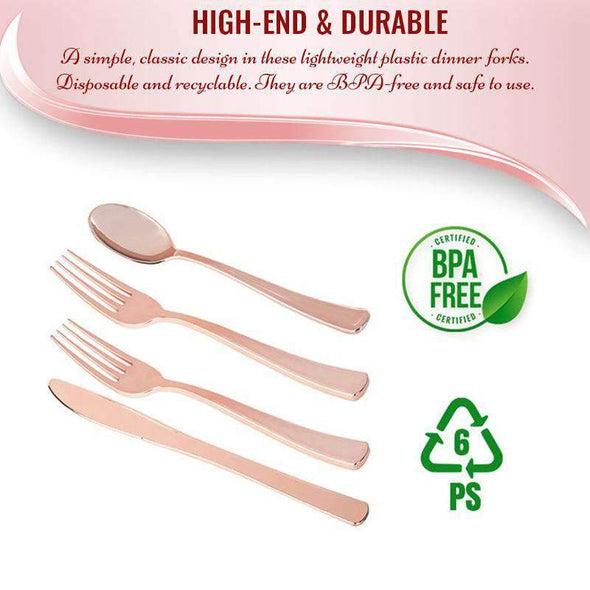 Classic Rose Gold Cutlery Disposable Plastic Wedding Silverware Set 80 Forks, 40 Knives and 40 Spoons