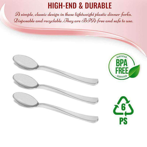 Shiny Metallic Silver Plastic Disposable Wedding Spoons