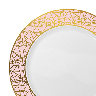 "10.25"" White with Pink and Gold Mosaic Rim Round Plastic Dinner Plates10.25"" White with Pink and Gold Mosaic Rim Round Plastic Dinner Plates"