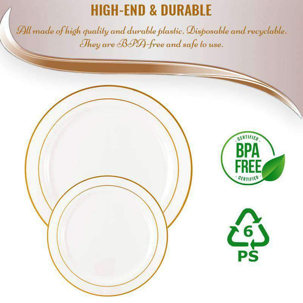 "9"" White with Gold Edge Rim Plastic Buffet Plates"