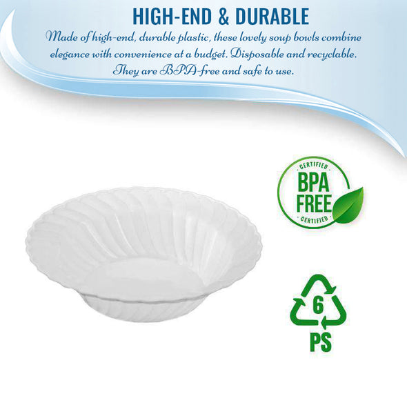 12 oz. White Flair Plastic Soup Bowls