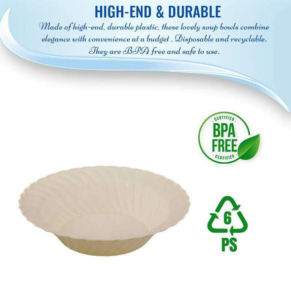 Ivory Flair Disposable Plastic Wedding Soup Bowls