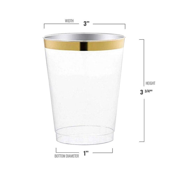 10 oz. Clear with Gold Rim Round Tumbler