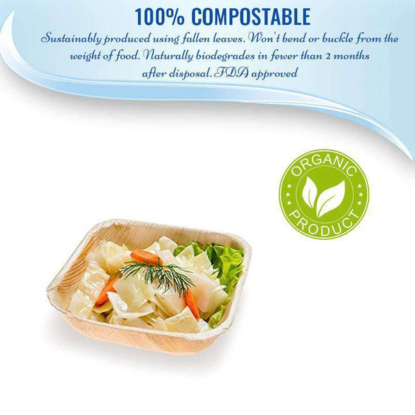 Square Palm Leaf Eco Friendly Disposable Wedding Soup Bowls
