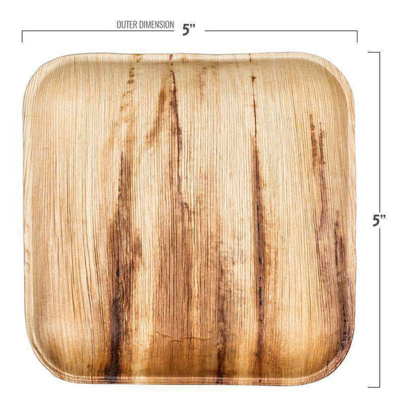 "5"" Square Palm Leaf Eco Friendly Disposable Pastry Plates"