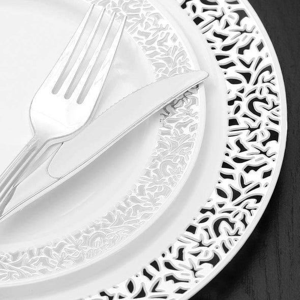 "10.25"" White with Silver Lace Rim Plastic Dinner Plates"