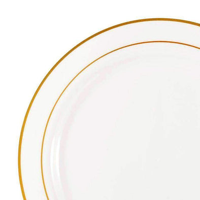 "10.25"" White with Gold Edge Rim Disposable Plastic Dinner Plates"