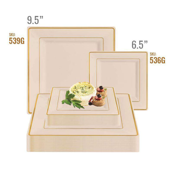 "9.5"" Ivory with Gold Square Edge Rim Plastic Dinner Plates"