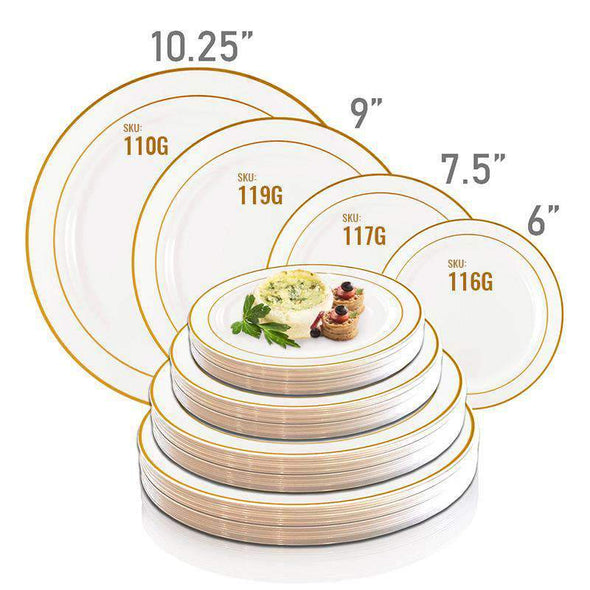 White with Gold Edge Rim Disposable Plastic Dinner Plates