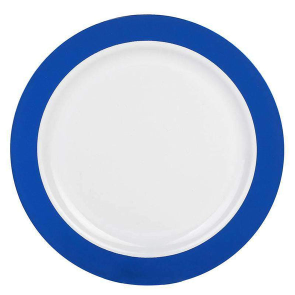 "7.5"" White with Solid Blue Radian Rim Plastic Appetizer/Salad Plates"