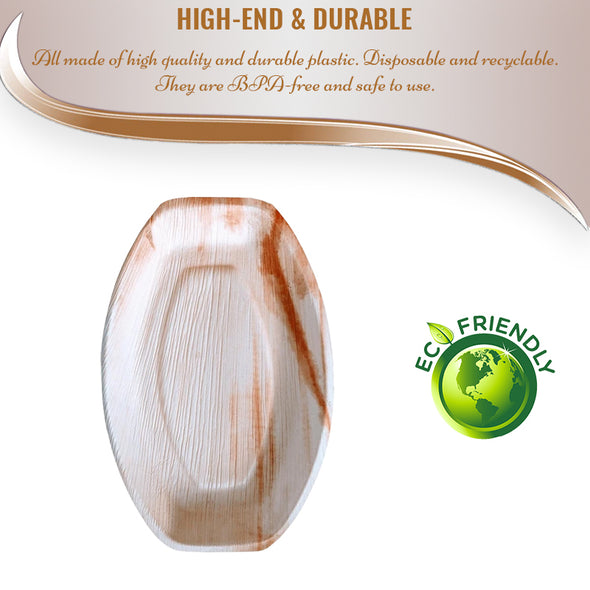 "14"" x 10"" Oval Natural Palm Leaf Eco-Friendly Disposable Trays"