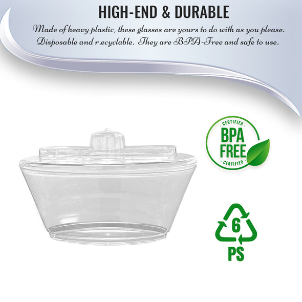 4 oz. Clear Oval Plastic Mini Cup with Lid and Spoon