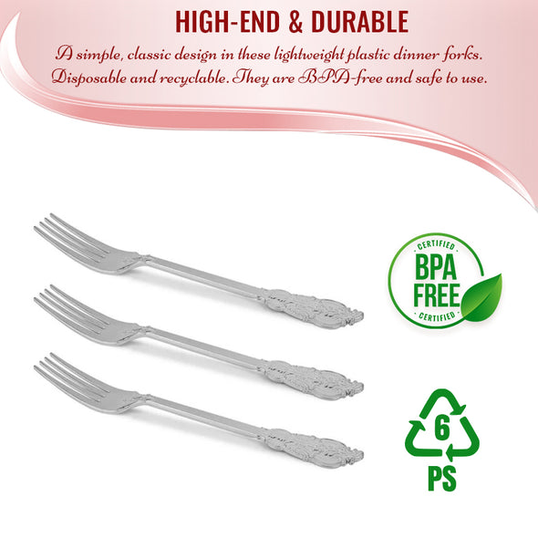 Shiny Baroque Silver Plastic Forks
