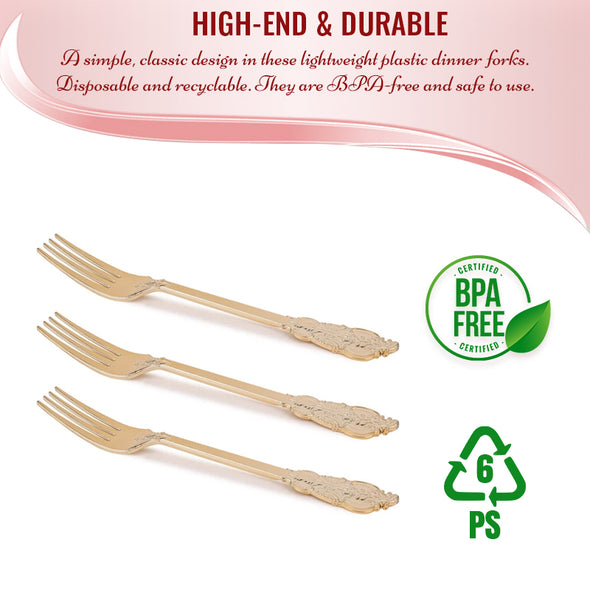 Shiny Baroque Gold Plastic Forks