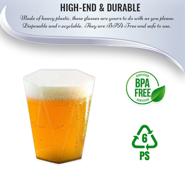 10 oz. Clear Hexagonal Disposable Plastic Beer Cups