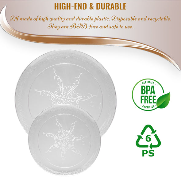 "7"" Clear with Scroll Plastic Appetizer/Salad Plates"