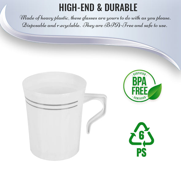 8 oz. White with Silver Edge Rim Round Plastic Coffee Mugs