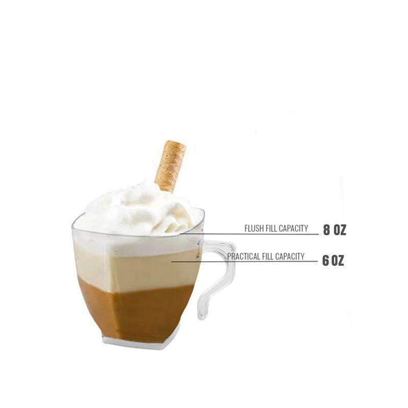 Clear Square Disposable Plastic Wedding Coffee Mugs