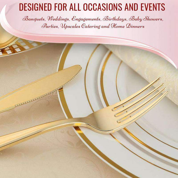 Shiny Metallic Gold Disposable Wedding Plastic Forks