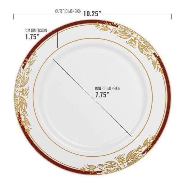 White with Burgundy and Gold Harmony Rim Disposable Plastic Wedding Dinner Plates