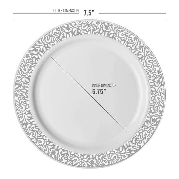 "7.5"" White with Silver Lace Rim Plastic Appetizer/Salad Plates"