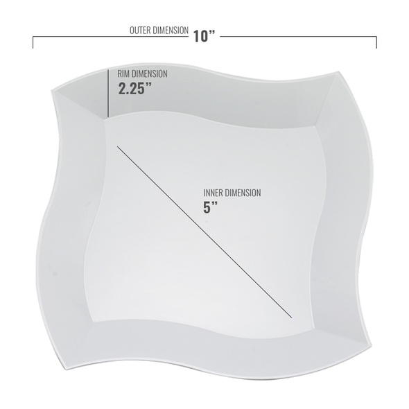 White Wave Plastic Dinner Plates